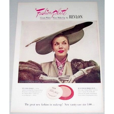 1948 Revlon Fashion Plate Cream Wafer Make Up Color Print Ad