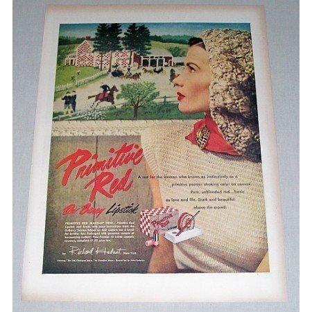 1946 DuBarry Primitive Red Lipstick Farm Horses Vintage Color Print Ad