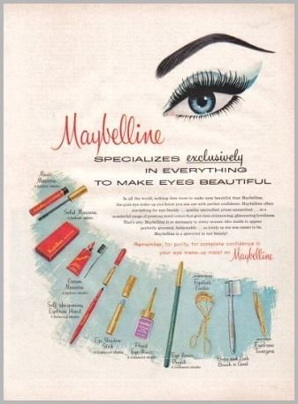 1960 Maybelline Make Up Cosmetics Vintage Art Color Print Ad