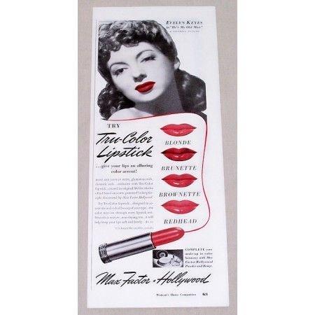 1942 Max Factor Lipstick Vintage Color Print Ad Celebrity Evelyn Keys