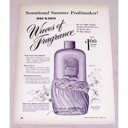 1950 Bourjois Waves Of Fragrance Light Cologne Vintage Print Ad