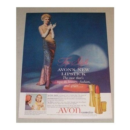 1958 Avon Cosmetics Lipstick Vintage Color Print Ad - Top Style