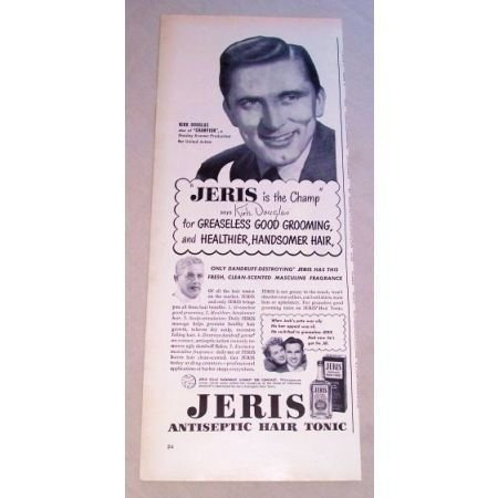 1950 Jeris Hair Tonic Vintage Print Ad Celebrity Kirk Douglas