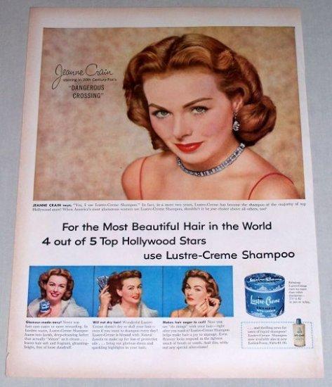 1953 Lustre Creme Shampoo Vintage Color Print Ad Celebrity Jennie Crain