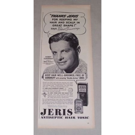 1949 Jeris Hair Tonic Vintage Print Ad Celebrity Robert Cummings