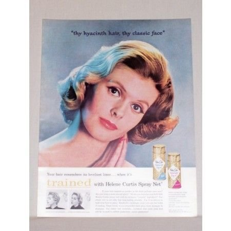 1957 Helene Curtis Spray Net Vintage Color Print Ad - Thy Hyacinth Hair