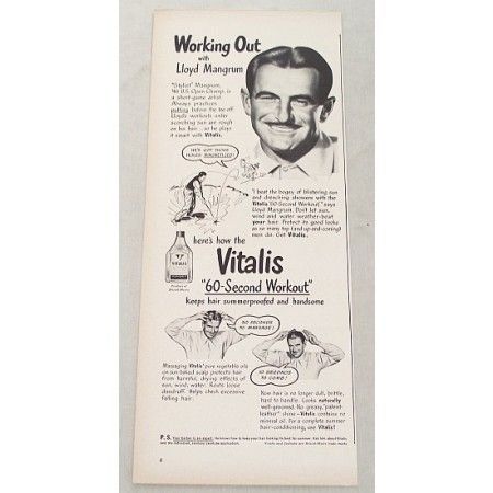 1948 Vitalis Hair Care Vintage Print Ad Golf Celebrity Lloyd Mangrum