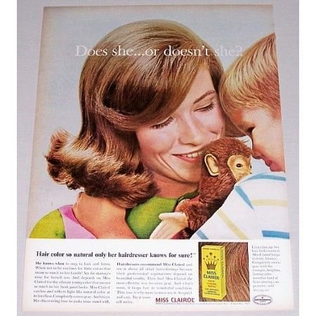 1965 Miss Clairol Hair Color Bath Vintage Color Print Ad