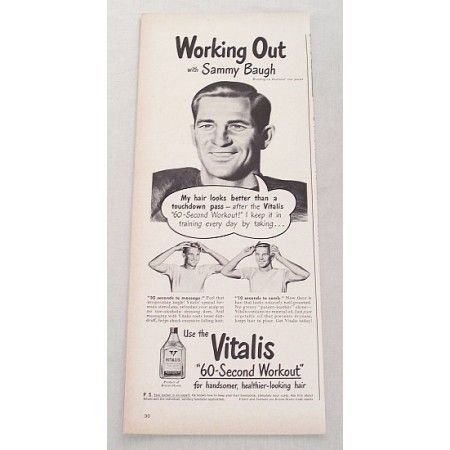 1948 Vitalis Hair Care Vintage Print Ad Washington Redskins Football Celebrity Sammy Baugh