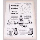 1950 Vitalis Hair Care Vintage Print Ad - Old Man Summer Sun!