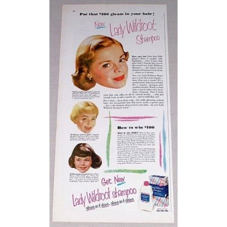 1952 Lady Wildroot Shampoo Vintage Color Print Ad - $100 Gleam
