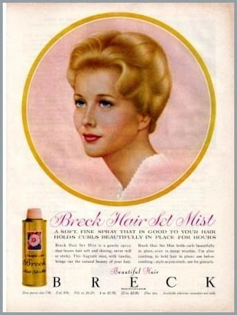 1960 Breck Hair Set Mist Vintage Color Print Ad - Beautiful Hair