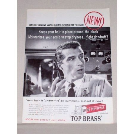 1958 Revlon Top Brass Men's Hair Dressing Vintage Print Ad