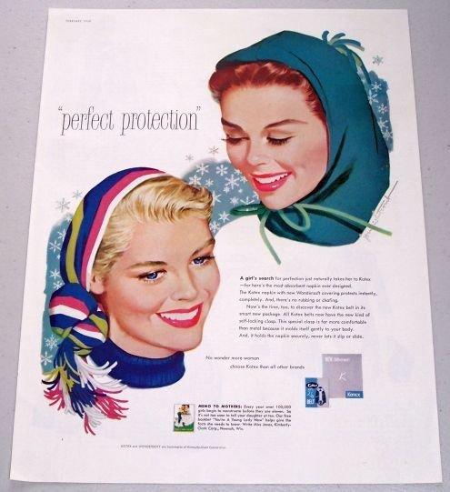 1958 Kotex Color Winter Art Vintage Color Print Ad - Perfect Protection