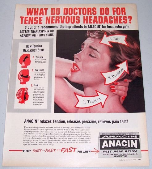 1960 Anacin Analgestic Tablets Aspirin Vintage Color Print Ad