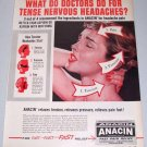 1960 Anacin Analgestic Tablets Aspirin Vintage Color Print Ad