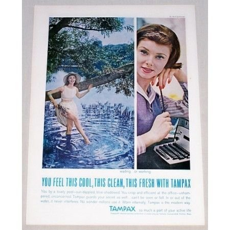 1961 Tampax Sanitary Napkins Vintage Color Print Ad - Wading Or Working
