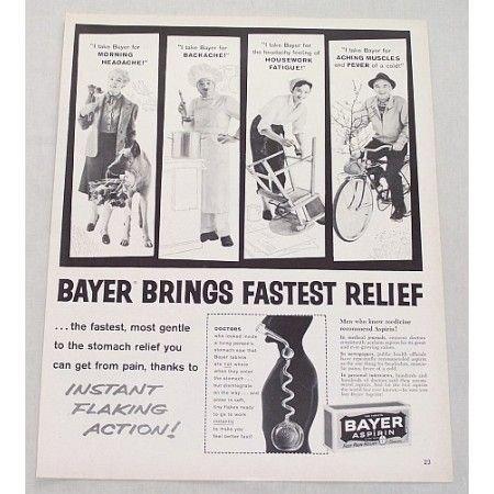 1960 Bayer Aspirin Vintage Print Ad - Bayer Brings Fastest Relief