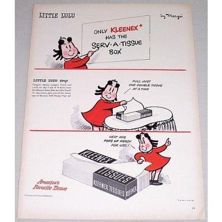 1948 Kleenex Tissues Marge Little Lulu Art Vintage Color Print Ad