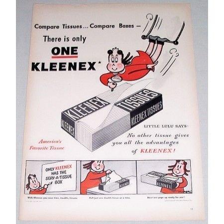 1948 Kleenex Tissues Little Lulu Art Vintage Color Print Ad
