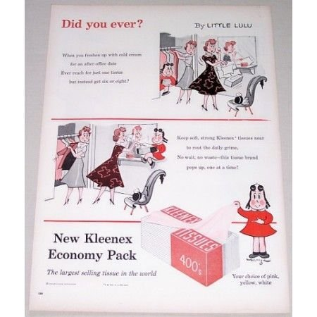 1955 Kleenex Tissues Little Lulu Art Vintage Color Print Ad - Did You Ever