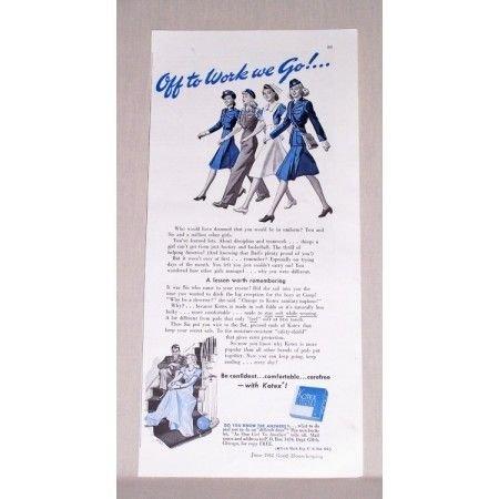 1942 Kotex Sanitary Napkins Wartime Military Women Vintage Print Ad