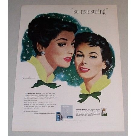 1958 Kotex Sanitary Napkins Color Print Art Ad - So Reassuring