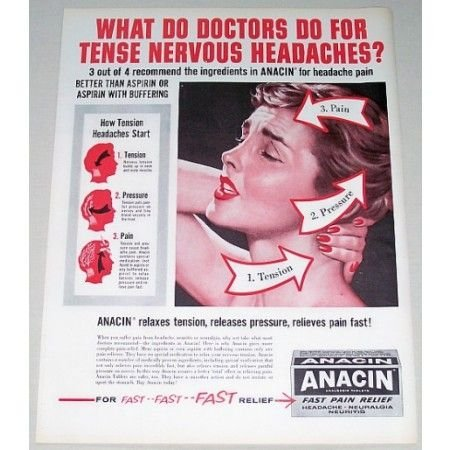 1960 Anacin Pain Relief Color Print Ad - What Do Doctors...