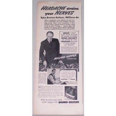 1939 Bromo Seltzer Vintage Print Ad Checker King Millard Hopper