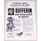 1954 Bufferin Antacid Analgesic Print Ad - Acts Twice As Fast