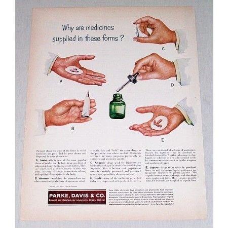 1952 Parke Davis Co. Color Print Art Ad - Medicines Supplied