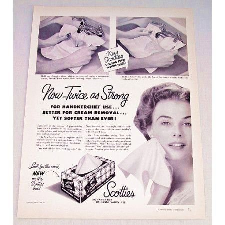 1953 Scotties Tissues Ad - Now Twice As Strong