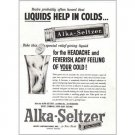 1957 Alka Seltzer Tablets Print Ad - Liquids Help In Colds...
