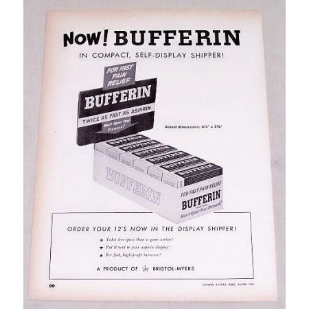 1950 Bufferin Pain Reliever Self Display Shipper Vintage Print Ad