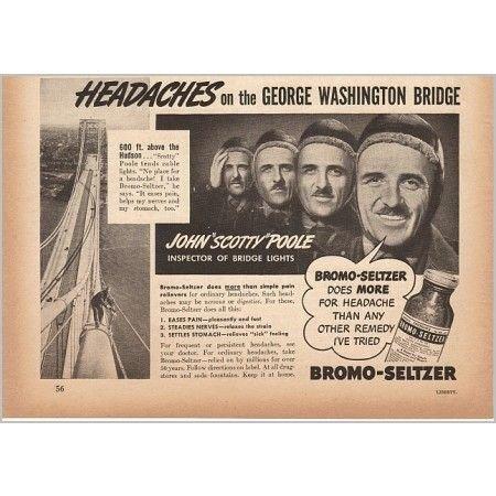 1940 Bromo Seltzer George Washington Bridge Vintage Print Ad