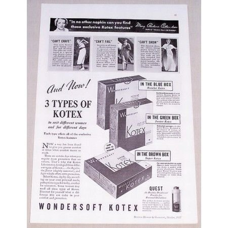 1935 Wondersoft Kotex Sanitary Napkins Vintage Print Ad