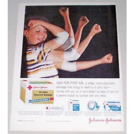 1960 Johnson Johnson Red Cross Bandage Color Print Ad