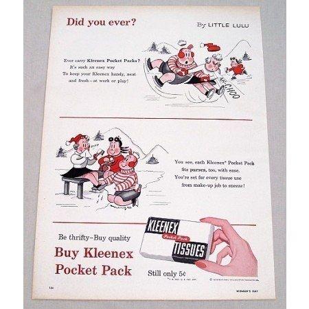 1955 Kleenex Tissues Little Lulu Marge Art Color Print Ad