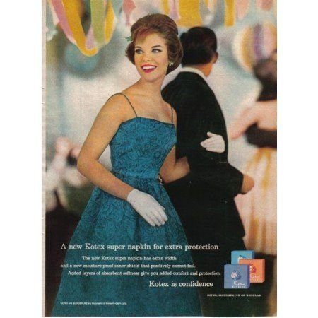1961 Kotex Napkins Color Print Ad - Woman In Formal Dress