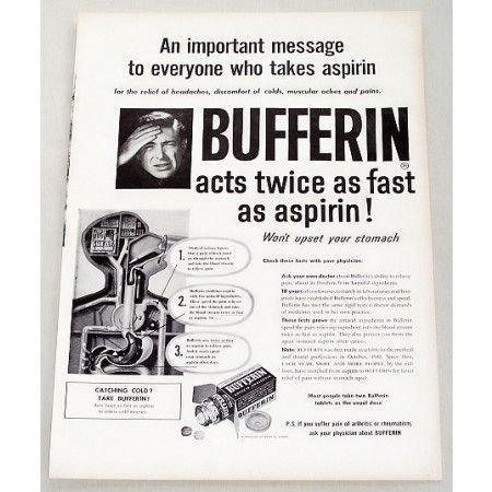 1956 Bufferin Analgestic Vintage Print Ad - Acts Twice As Fast