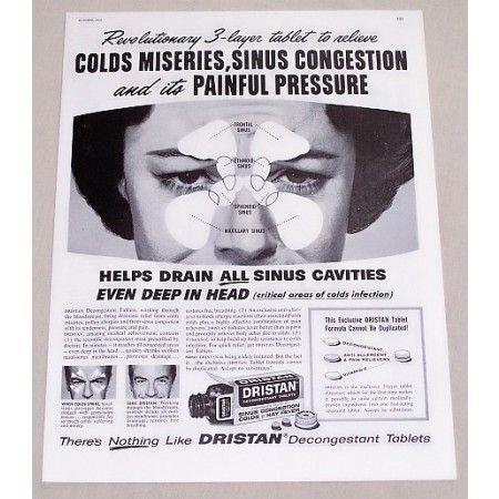 1960 Dristan Decongestant Tablets Vintage Print Ad - 3-Layer Tablet