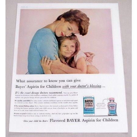 1960 Bayer Aspirin for Children Color Print Ad - Doctor's Blessing