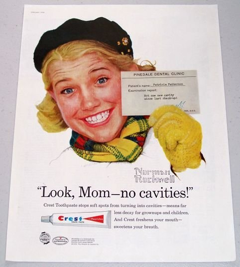 1958 Crest Tooth Paste Norman Rockwell Art Color Print Ad