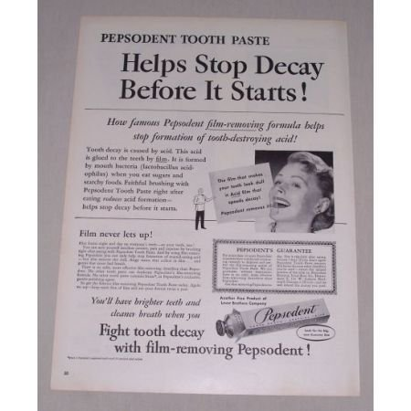 1949 Pepsodent Tooth Paste Vintage Print Ad - Film Removing Formula