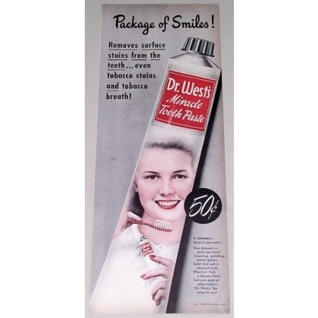 1948 Dr. West's Tooth Paste Color Print Ad - Package Of Smiles