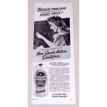 1944 Listerine Tooth Powder Vintage Print Ad - Busier Than Ever