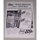 1949 McKesson's Tooth Powder Dr West's Toothbrush Vintage Print Ad