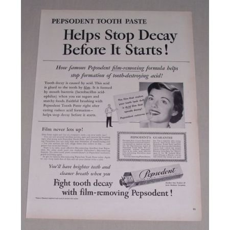 1949 Pepsodent Tooth Paste Vintage Print Ad - Helps Stop Decay