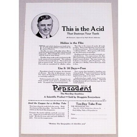 1919 Pepsodent Toothpaste Vintage Print Ad - This Is The Acid