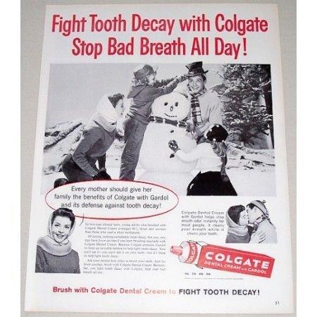 1960 Colgate Dental Cream Tooth Paste Snowman Winter Vintage Print Ad